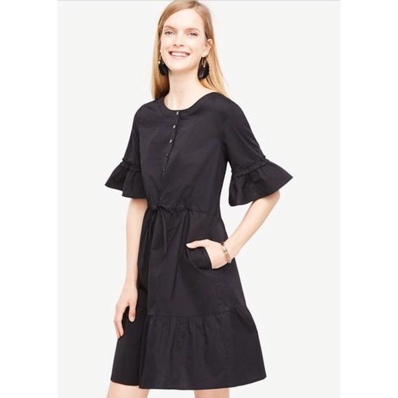 303f42bd63e Ann Taylor Fluted Sleeve Poplin Shirtdress NWT